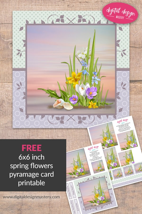 Free printable spring flowers pyramage card digital design mastery spring flowers square pyramid card mightylinksfo