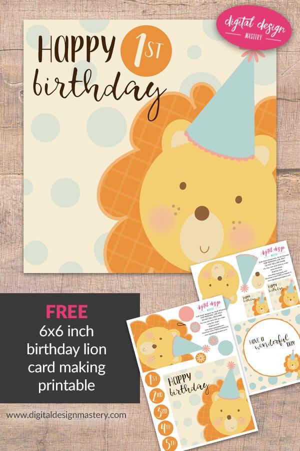 Free Printable Cute Lion Birthday Card Digital Design Mastery