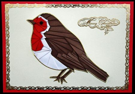 Christmas robin iris folding pattern
