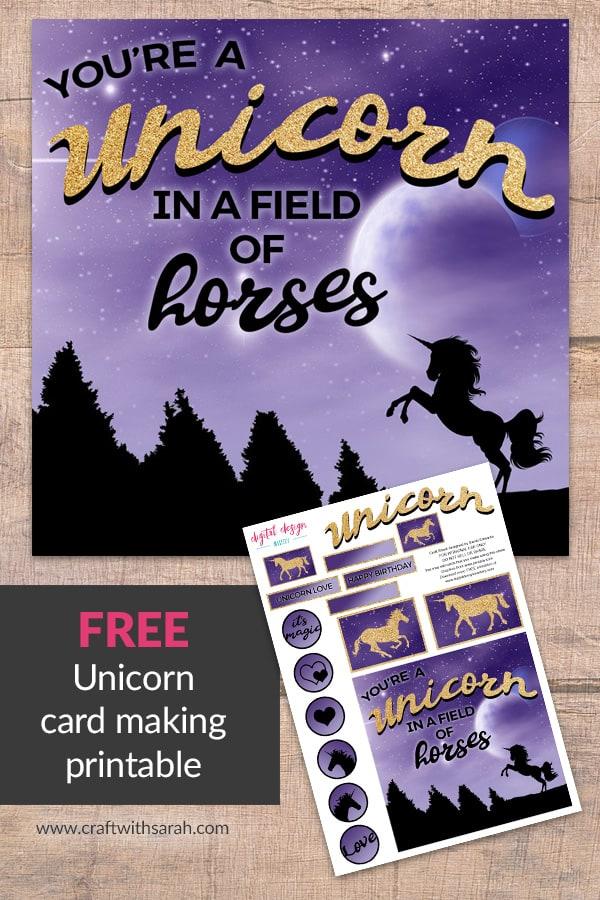 free printable  unicorn happy birthday card