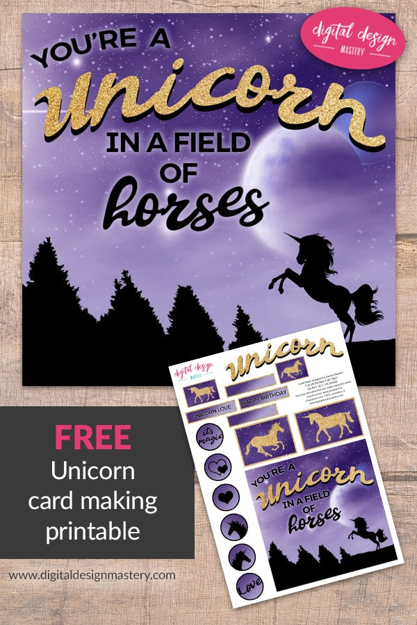 Free unicorn printable for birthday card making and crafting