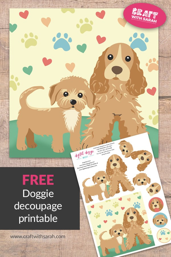 Download this free card making decoupage printable showing two cute dogs. Impress all your dog lover friends by crafting them a dog themed handmade birthday card.
