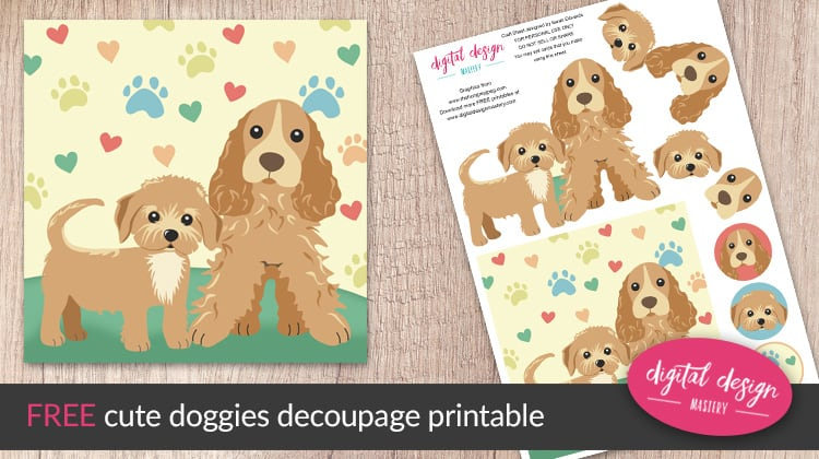 Free dogs decoupage printable for card making