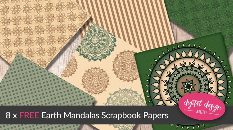 Flower mandala scrapbook papers with earth colour scheme