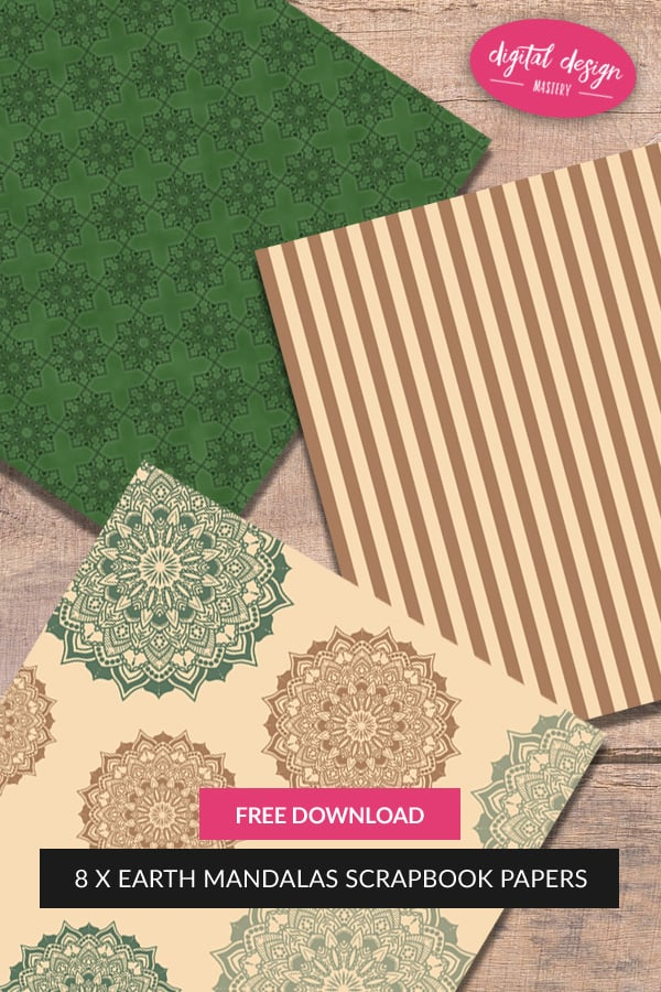Add to your stash of #printables with this free collection of eight 12x12 inch scrapbook papers with an earthy colour scheme and delicate earth mandala patterns.