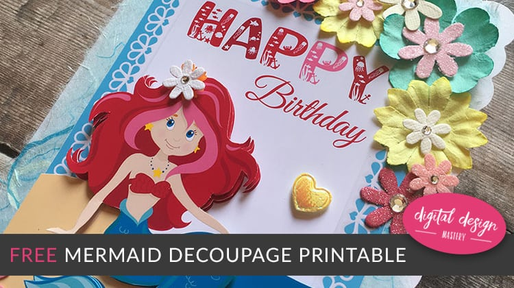 free mermaid decoupage craft printable digital design mastery