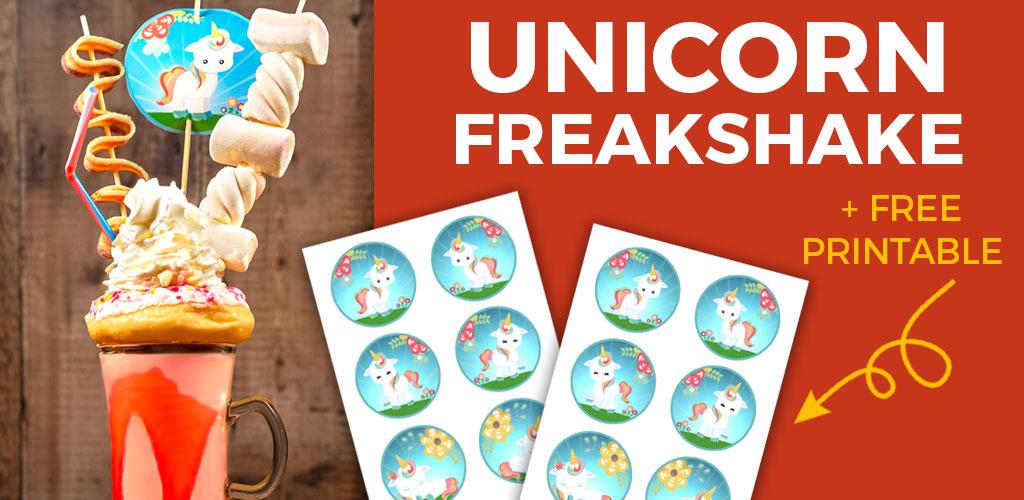 Unicorn freakshake recipe with free printables