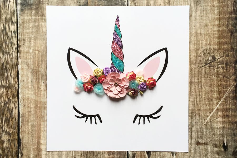Flower crown unicorn wall art