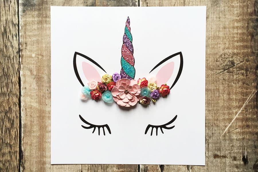 Flower crown unicorn wall art