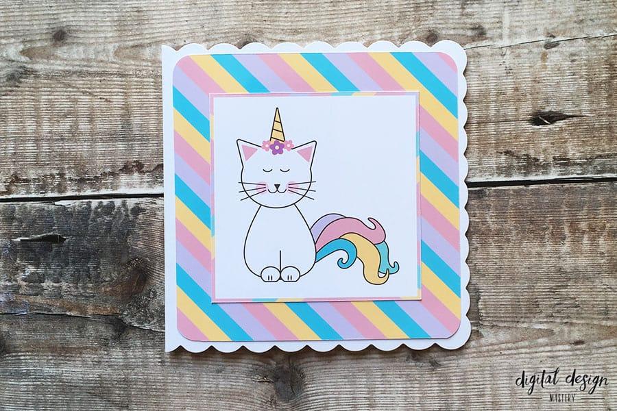 Caticorn Birthday Card Tutorial Amp Free Printable Cat