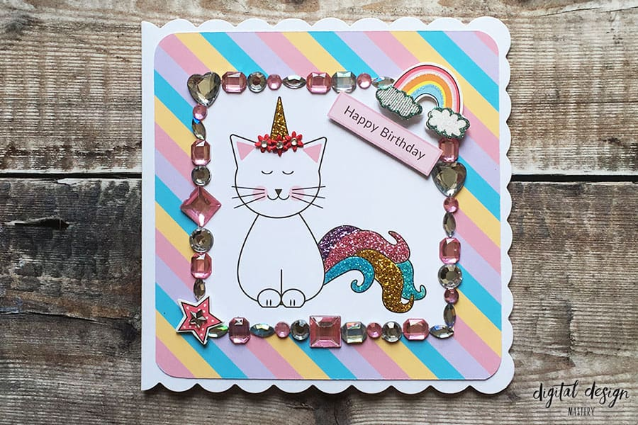 Completed caticorn handmade card