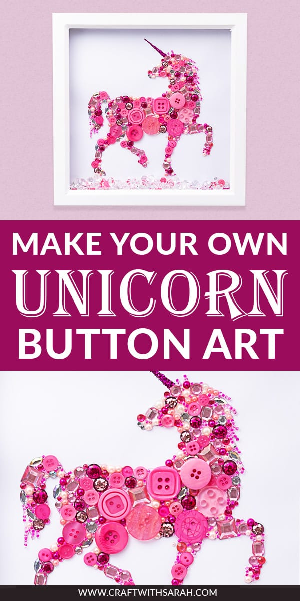 Make your own easy unicorn button art with this step-by-step tutorial and FREE printable unicorn template. If you're looking for unicorn frame ideas or DIY unicorn frames then this is the perfect unicorn craft project for you! Create a DIY unicorn shadow box with hundreds of pink buttons, sequins and gemstones for this gorgeous whimsical unicorn art creation. #buttonart #shadowbox #unicornart