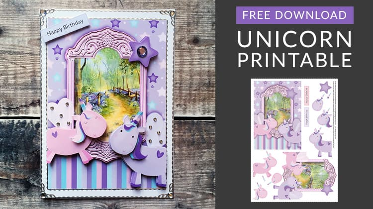 free unicorn decoupage printable unicorn card making sheet