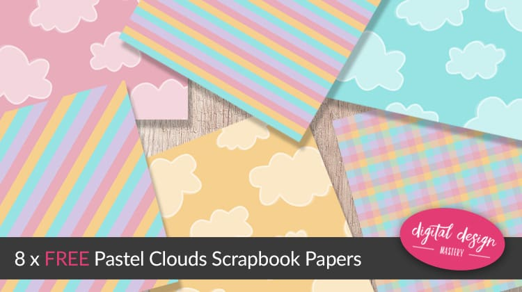 Pastel clouds free scrapbook papers