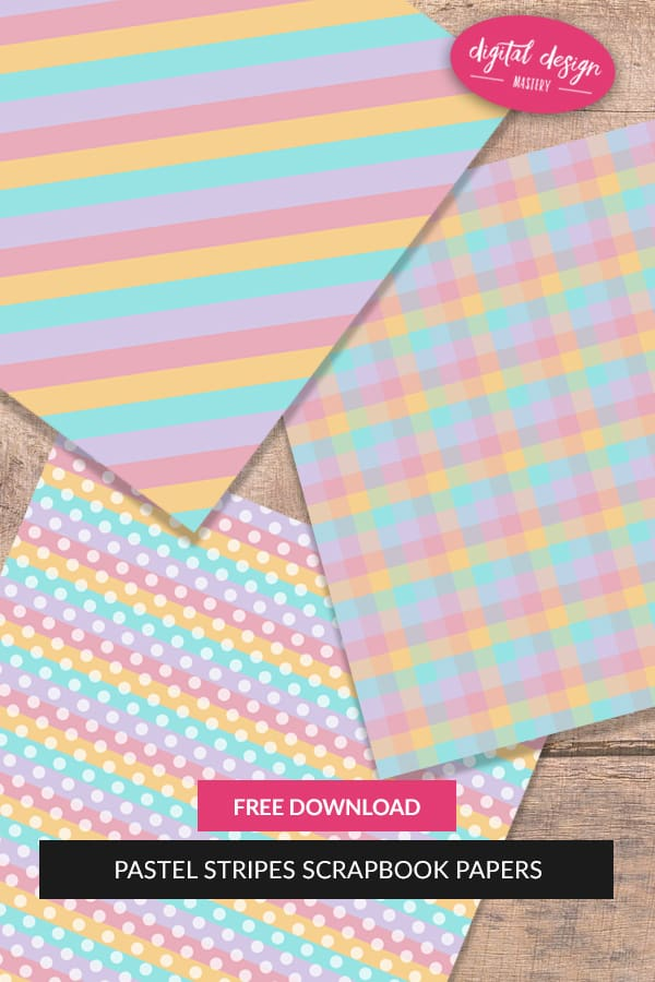 Add to your stash of #printables with this free collection of eight 12x12 inch pastel rainbow and clouds scrapbook papers