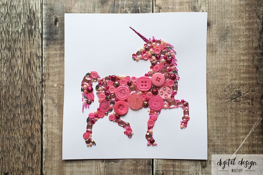 Completed pink unicorn button art