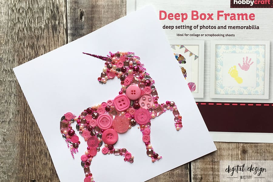 Unicorn button art with Hobbycraft box frame