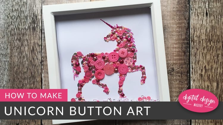 Unicorn button sequin art