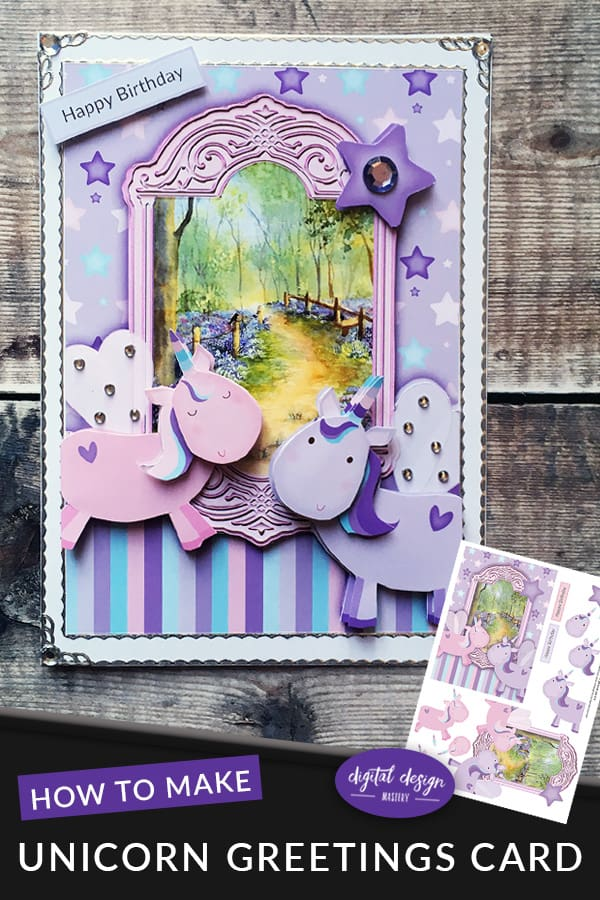 Create your own unicorn greetings card with this free craft project decoupage sheet. These cute pastel coloured pink and purple unicorns really come to life when you add the 3D decoupage layers. A super cute unicorn card for children's birthdays and unicorn parties. #unicorn #freeprintable #decoupage