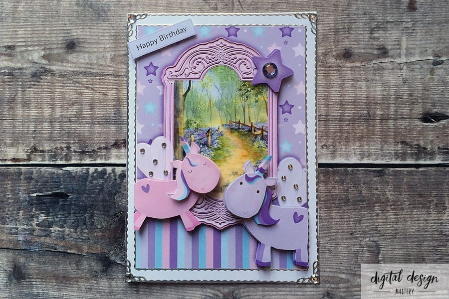 Finished unicorn handmade card with silver peel-off stickers