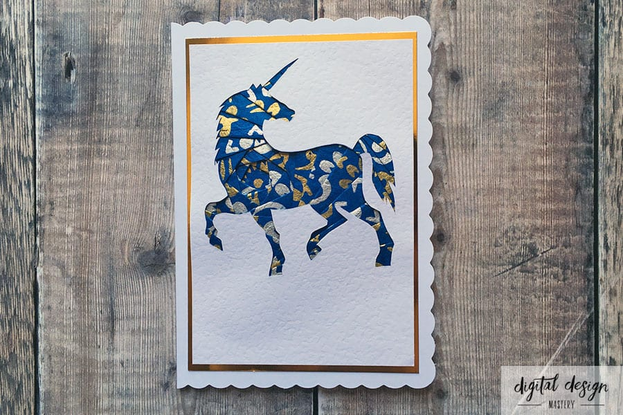 Unicorn iris folding handmade card