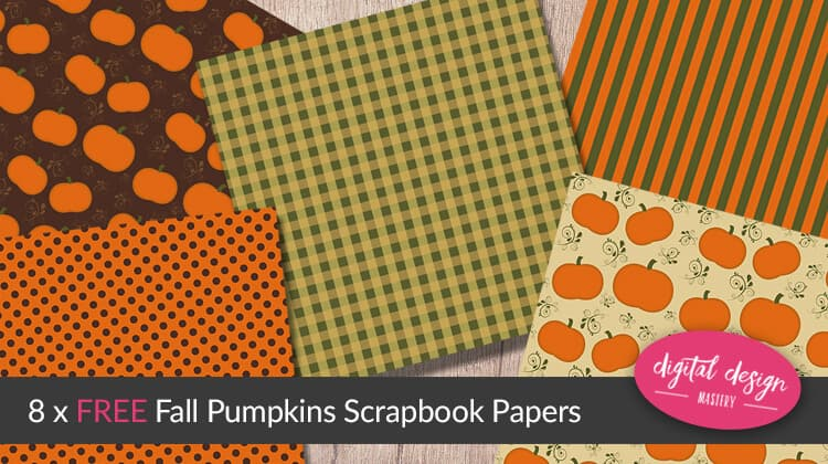 Download the free fall pumpkins scrapbook paper collection