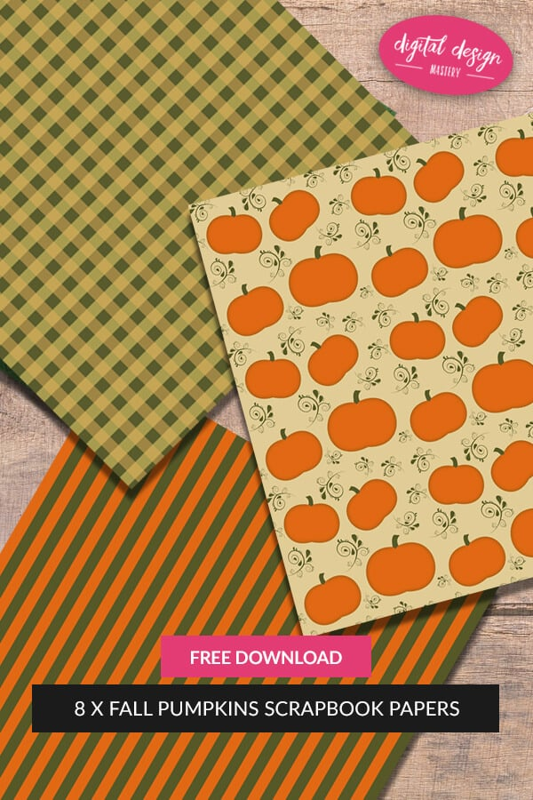 Download the free paper collection of autumn pumpkin scrapbook papers. Add to your craft stash and enjoy these eight autumnal backing papers. Free craft printables for autumn and fall.