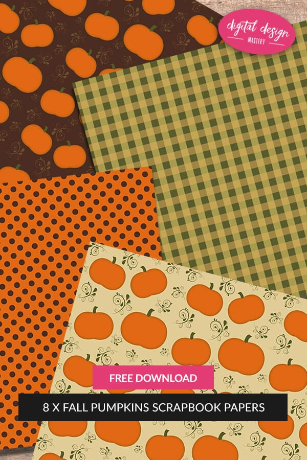 Free fall pumpkins scrapbook papers. Download this collection of #fall #pumpkin scrapbook papers. Free 12x12 inch scrapbook papers for your scrapbooking or card making craft projects.