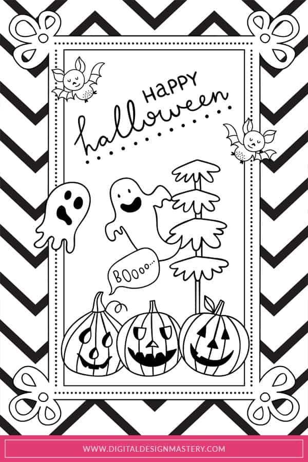 A cute Halloween coloring page for adults and teens with a fun Halloween design. Enjoy colouring these ghosts, pumpkins and flying bats with a fun chevron background for all your Halloween adult colouring needs.