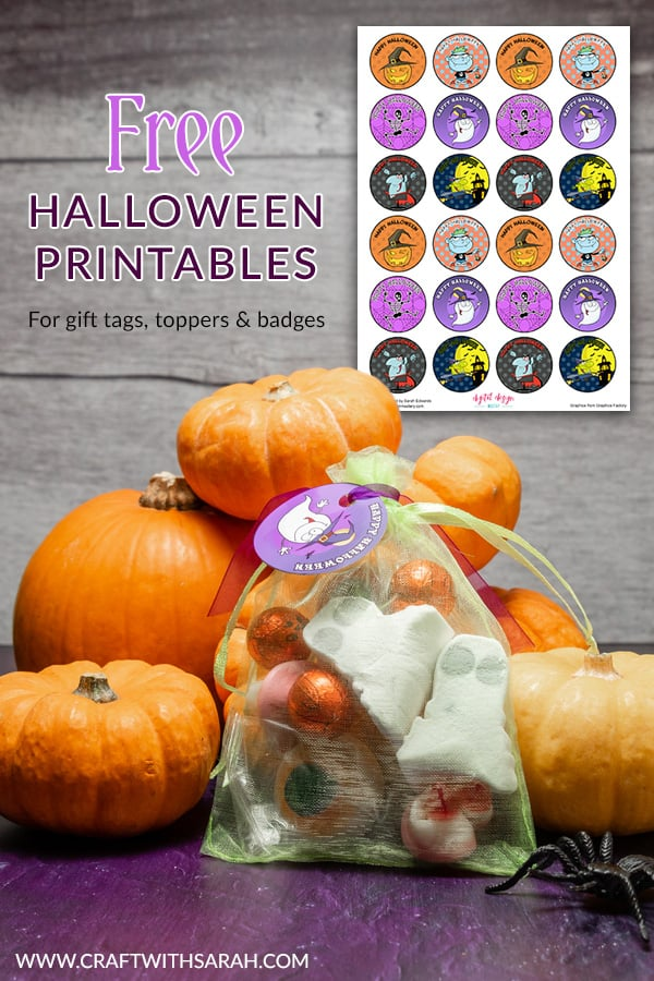 Enjoy these free Halloween gift tags printables. Print your own Halloween badges, gift tags and card toppers in large or small size. Make your own Halloween sweet bags with this fun tutorial & free gift tags. #halloween #halloweencraft #gifttags
