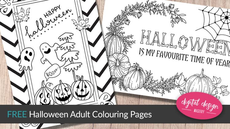 Two free Halloween colouring pages to download, print and colour.