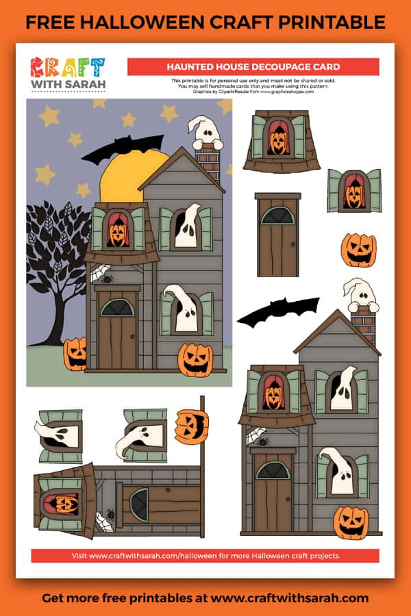 Is it spooky or cute? I just can't decide! Whichever it is, this easy-to-complete haunted house decoupage card making project is great for those last-minute Halloween cards.