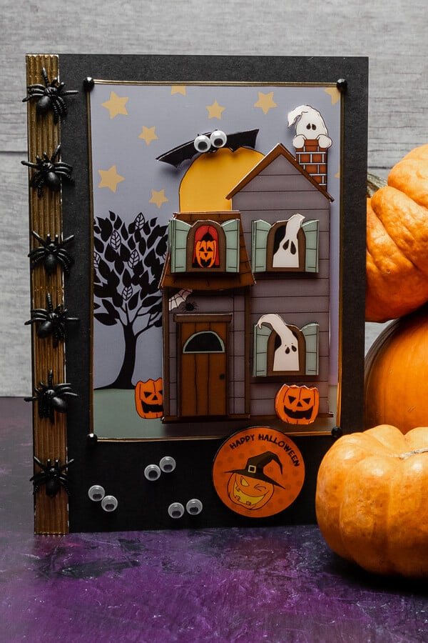 Halloween haunted house handmade card free printable. Enjoy this free craft project download for your Halloween handmade cards. Halloween card making download for decoupage card makers.