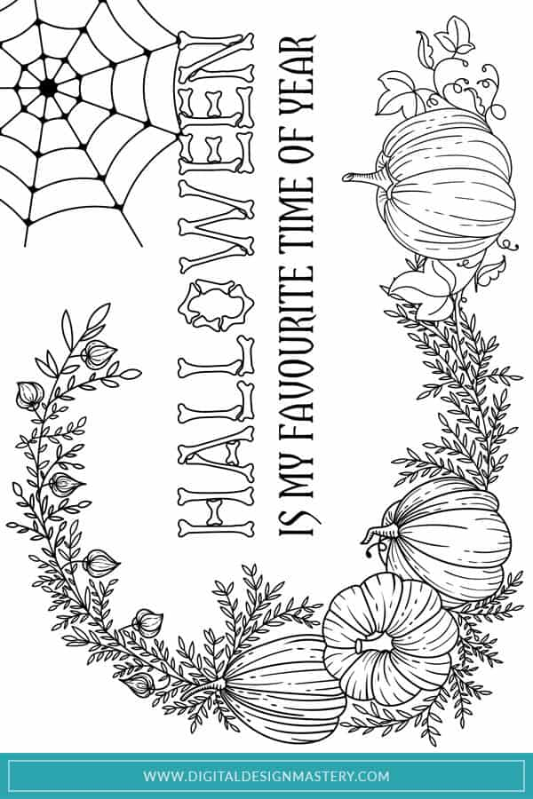 A traditional Halloween colouring page design with pumpkins and fall foliage. If Halloween is your favourite time of the year then you'll love this free Halloween colouring paper for adults and teens.