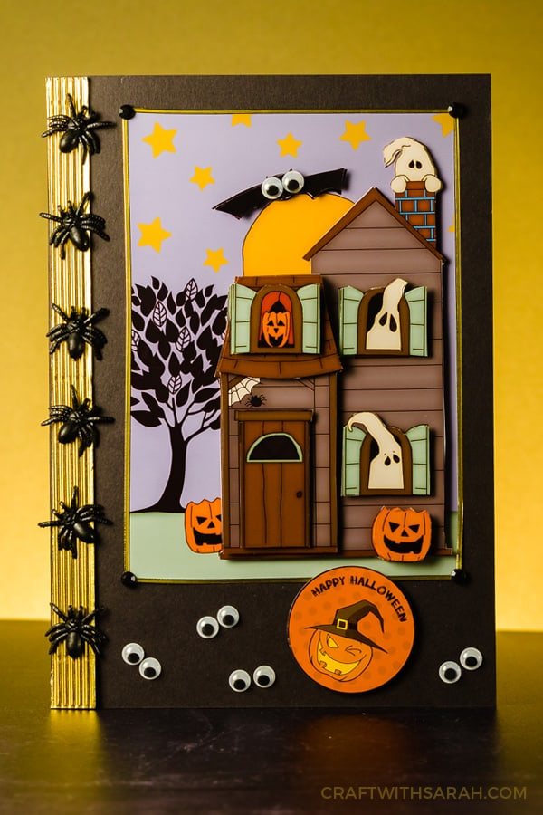 Haunted house greetings card for Halloween