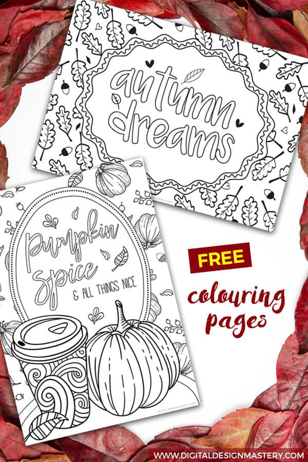 Fall themed adult colouring sheets to print out at home. Enjoy some adult colouring this autumn season with these pumpkin themed designs. #adultcolouring #pumpkinspicelatte