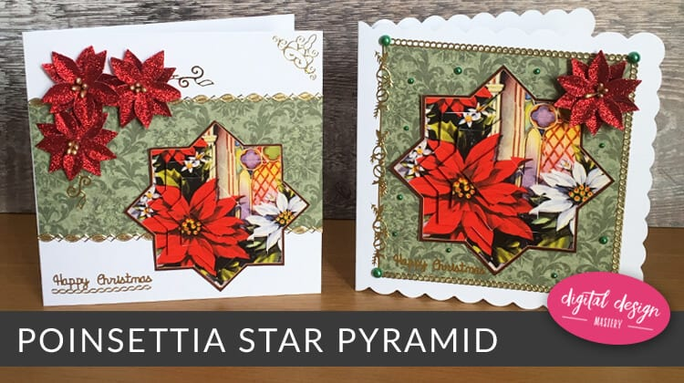 Poinsettia star pyramid card making download - free printable