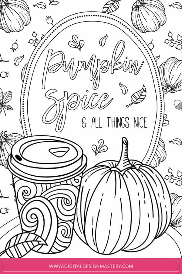 Pumpkin spice latte free adult colouring printable