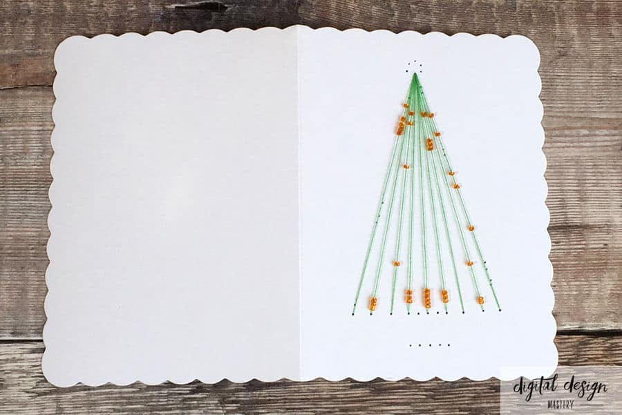 Card stitching instructions: Christmas tree