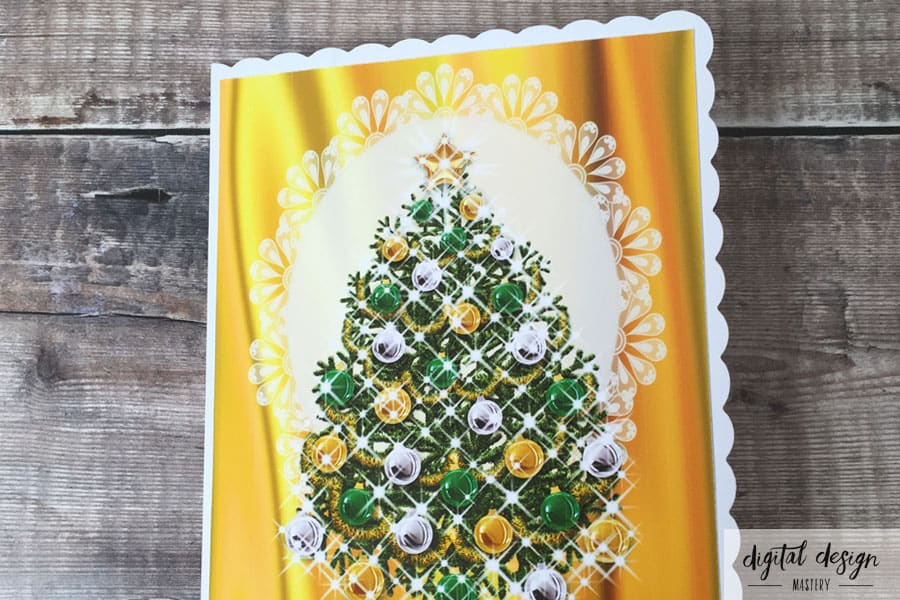 Christmas Tree Card Making: Attach the design to the card front