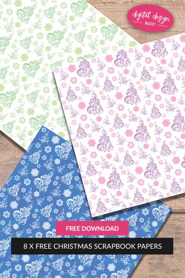 Free Christmas tree and snowflake 12x12 inch scrapbook papers. Print these free scrapbook pages to enhance your scrapbooks, photo albums, handmade cards, decoupage and craft projects.