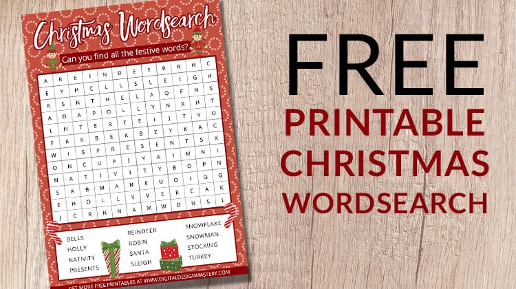 Free printable Christmas wordsearch activity for kids