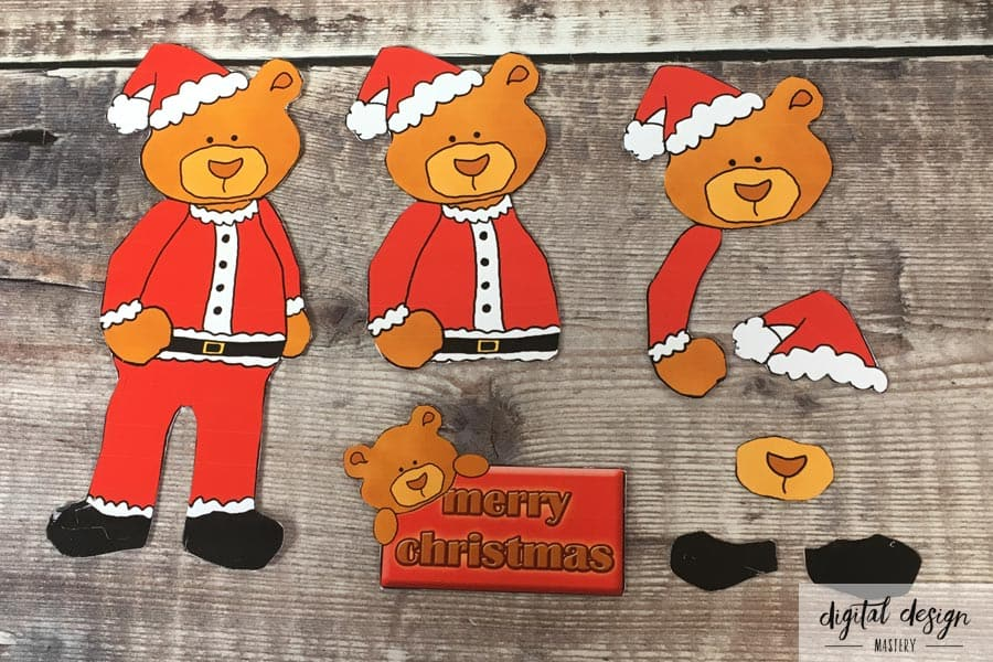 Christmas Bear Decoupage Toppers