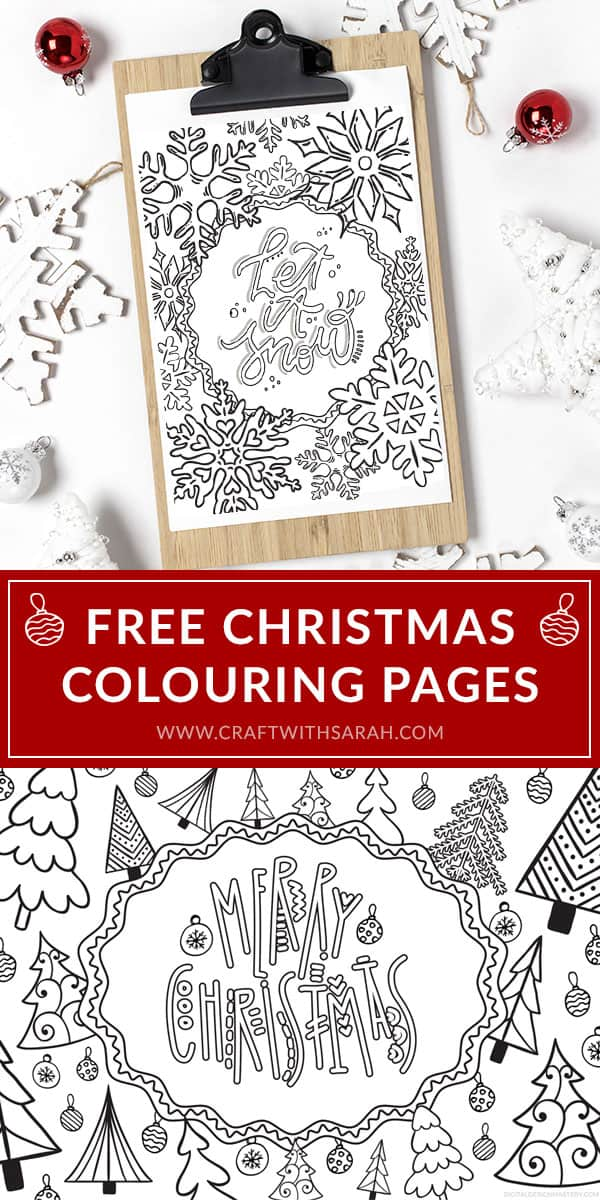 Two free Christmas colouring pages that you can print at home. Enjoy some adult colouring therapy this Christmas with these festive Christmas colouring freebies. #colouring #freecolouring #craftwithsarah