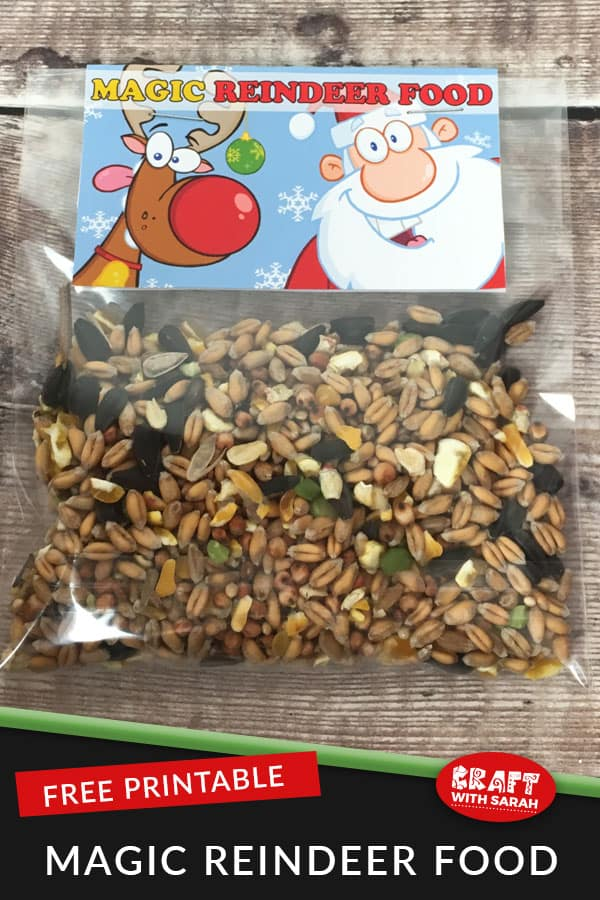 Get ready for Christmas Day by sprinkling magic reindeer food on your lawn on Christmas Eve with your children so that Santa can find your house in the dark. Magic reindeer food is a great kid's tradition for Christmas. Make your own magic reindeer food with this free printable. #magicreindeerfood #kidscraft #christmastradition