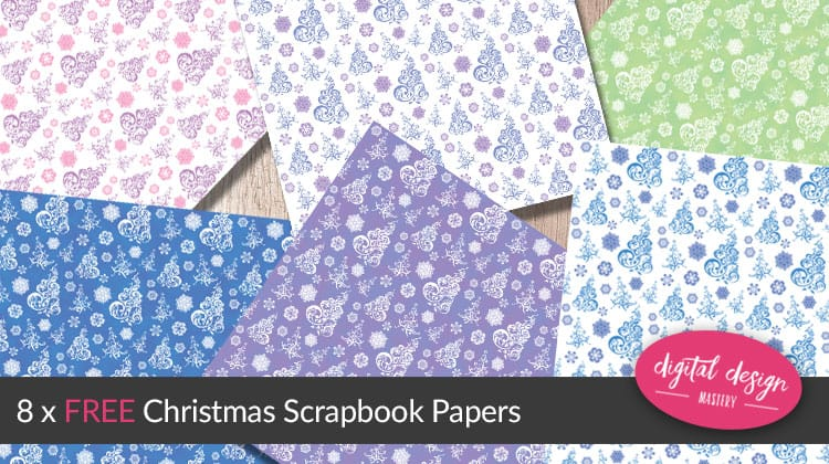 Free Christmas scrapbook papers covered in snowflakes and Christmas trees