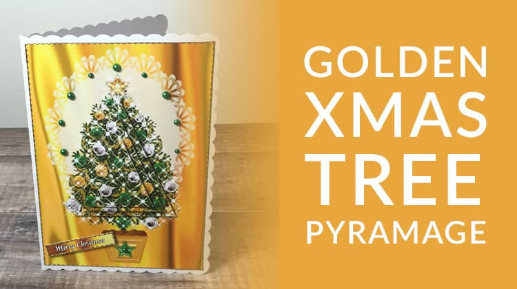 Free golden Christmas tree pyramage card making download