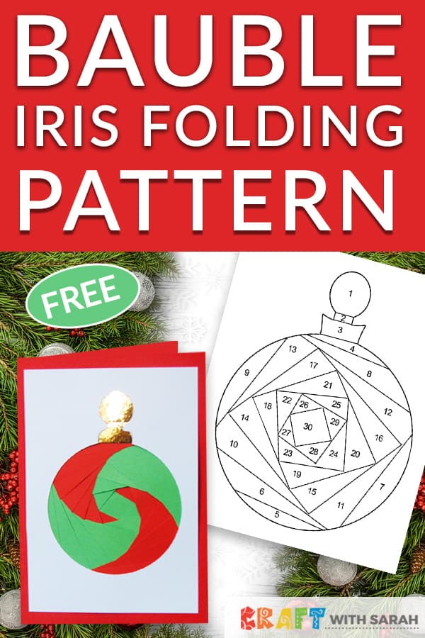 Celebrate Christmas with this lovely traditional Christmas bauble iris folding pattern. The perfect Xmas iris folding template for beginners! #irisfolding #christmascard #bauble #christmascrafts
