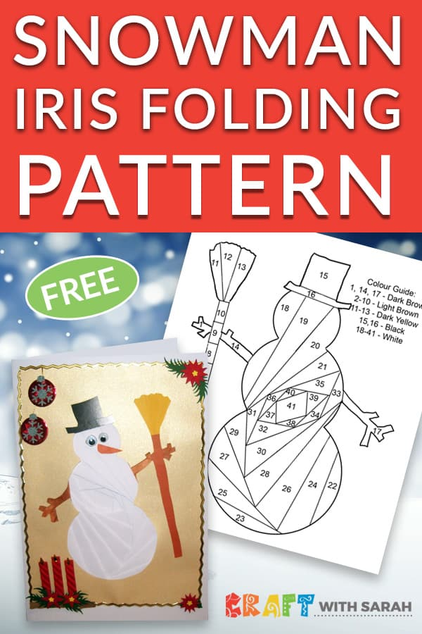 Iris folding snowman pattern template to download for free