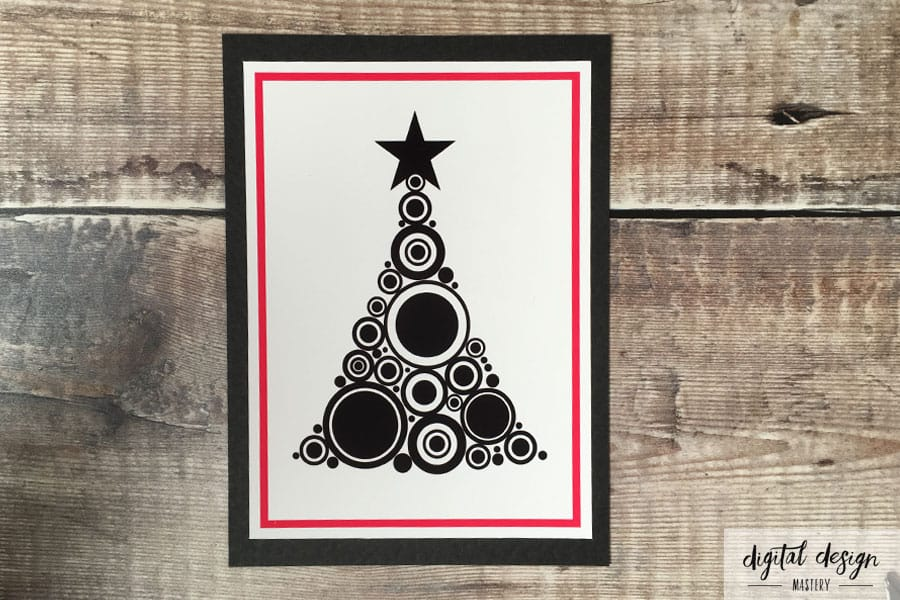 Pink pompom Christmas tree card instructions: Step 3